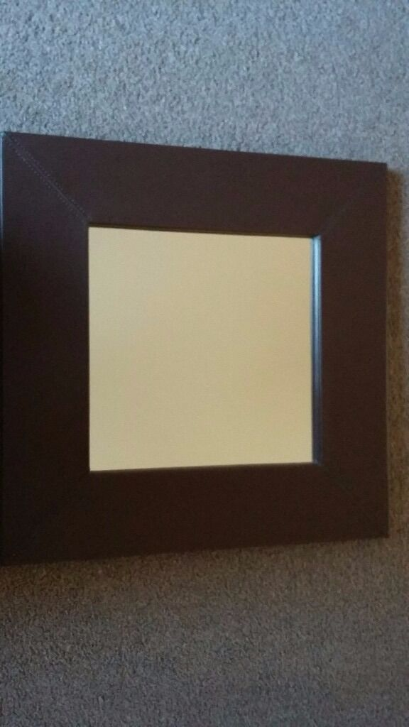 Square leather effect mirror