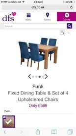 Funk - Fixed Dining Table & Set of 4 Upholstered Chairs - BRAND NEW FROM DFS