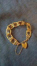 9ct gold 4 bar gate bracelet