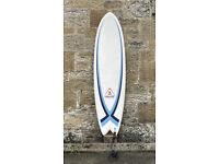SHIPPING, Awali Retro Fish Surfboard 6'4 hybrid thruster, Epoxy, 42L, Fun Board, fins, leash
