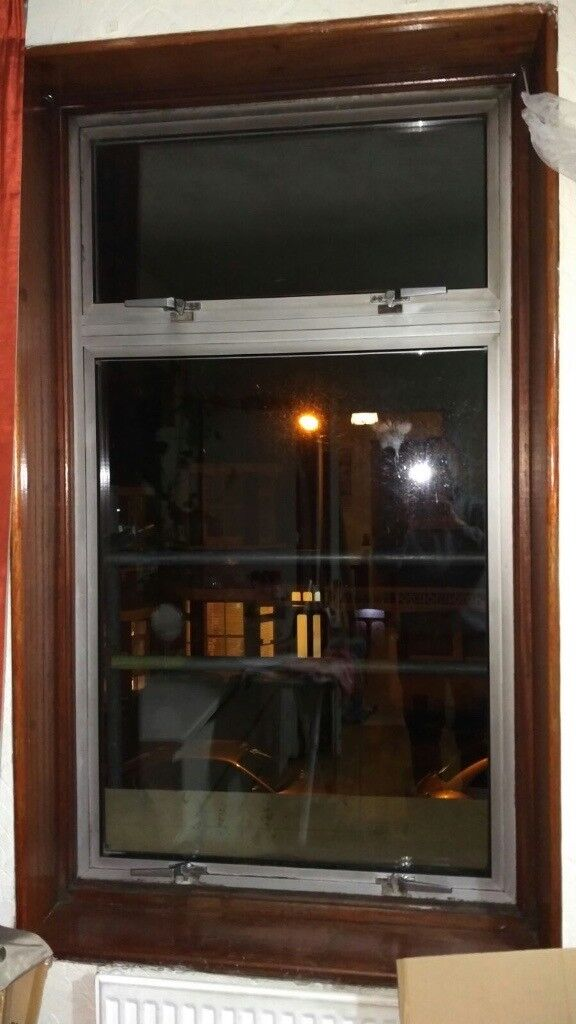 Pair of Silver Aluminium Double Glazed windows - can deliver
