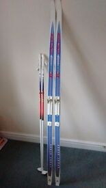 Fischer cross country skis and poles