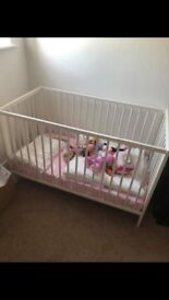 Baby cot never been slept in therefore mattress brand new