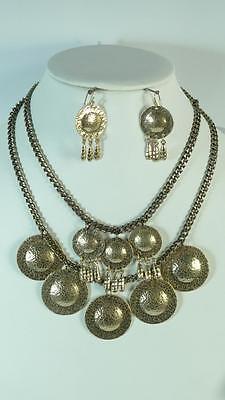 Chunky antiqued gold earring necklace set wedding bridal fashion costume jewelry