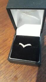 Gold and diamond wishbone wedding engagement ring