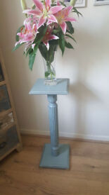 Shabby Chic Pedestal Plant/ Lamp Stand Solid Wooden *Duck Egg Blue*