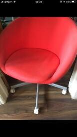 2x Red Tub IKEA Chair