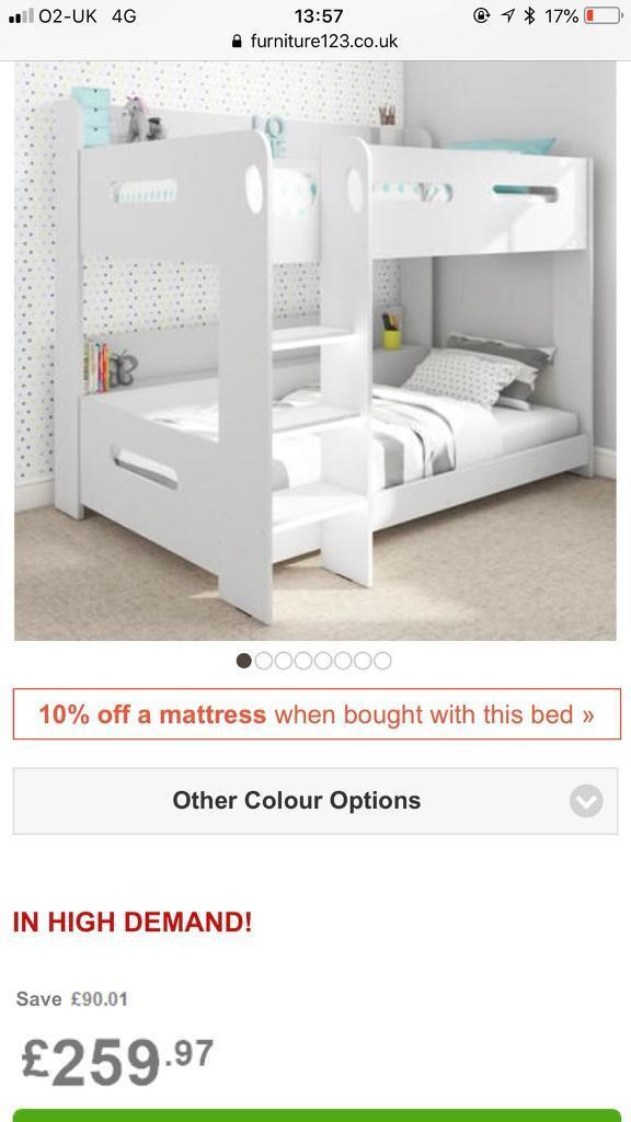 White Wooden Bunk Beds With Storage Ledges In Caister On Sea