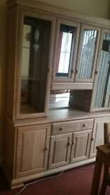 Limed oak sideboard with China cabinet