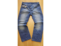 "MENS DIESEL SIGNATURE BRANDED STRAIGHT CUT SELVEDGE DESIGNER DENIM JEANS 33""W-30""L"