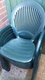 x6 high back green garden chairs