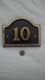 Brass number 10 house plaque