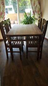 Stunning Solid Wood Dining Table and Chairs