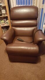 sherborne real leather chocolate brown rise & tilt electric recliner armchair disability armchair.