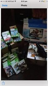 """Xbox 360 19"""" led tv/dvd combi connect camera steering wheel and 22 games"""