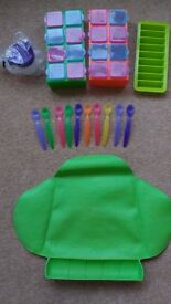Baby weaning feeding set - mat, spoons, tubs, sippy cup etc.