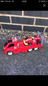 car transporter toy and race car