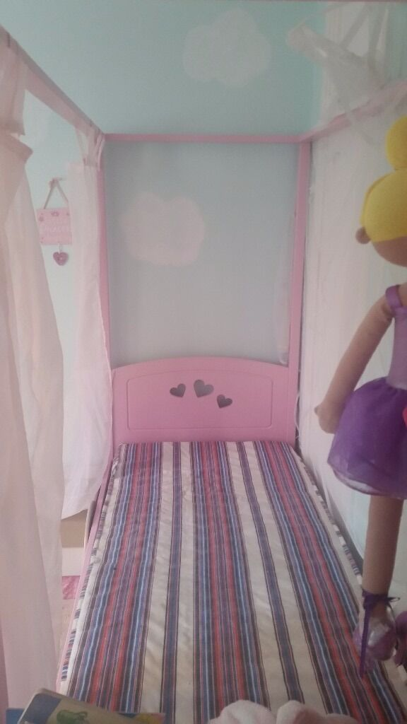 Pink Childrens Four Poster Bed With Mattress And Curtains