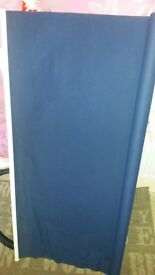Free blue roller blind. 46W x 50D inches. Lordshill