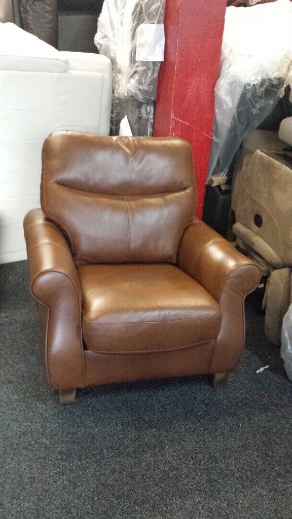 New / Ex Display Harveys Orkeny Leather 1 Seater Chair