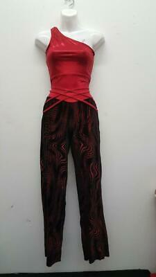Dance Costume Small Adult Red Velvet Vintage Disco Weissman Solo Competition](Disco Dancewear)