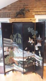 Room divider with oriental scene