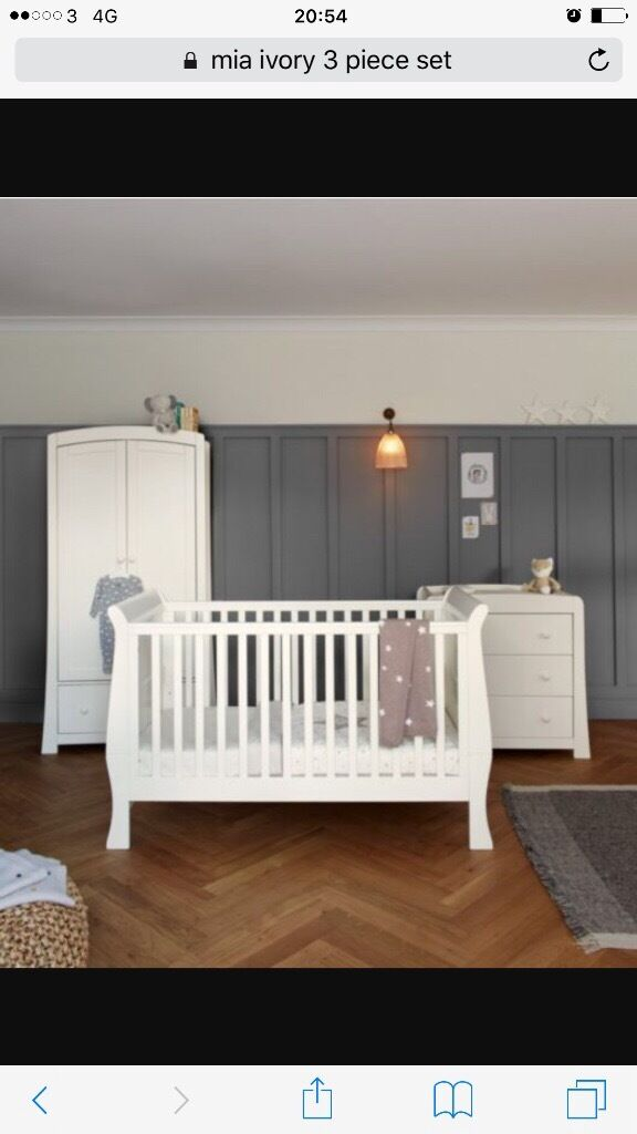 Mia Ivory 3 piece nursery brand new (wardrobe, cot/bed and chest of draws with changing table) £550