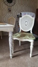 antique style unusual table and six chairs