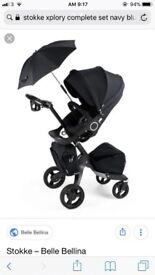 Stokke Xplory pram pushchair with carrycot, footmuff, parasol, lots of extras