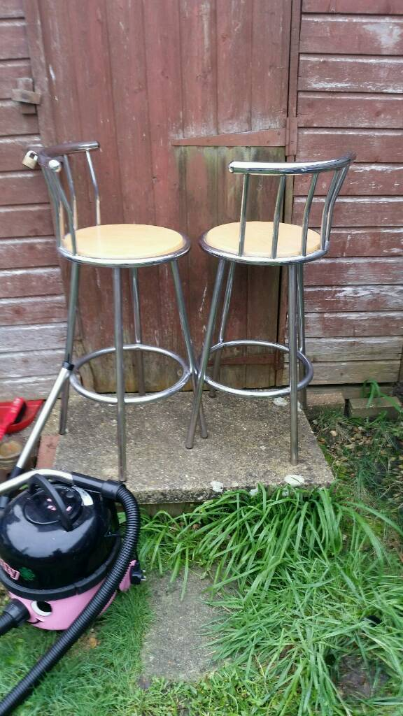 Pair of pine and chrome kitchen stools