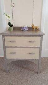Shabby Chic vintage chest of 2 drawers finished in Annie Sloan chalk paint