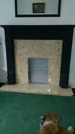Solid wood surround marble back and hearth