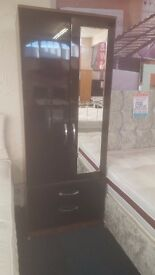 ex display very good quality wardrobe black gloss doors and walnut sides