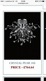United lights Egyptian crystal, Crystal pear 16s ceiling light.
