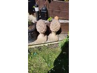 Red concrete pineapple gate toppers