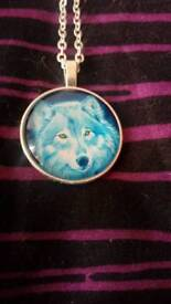 Lovely blue wolf necklace
