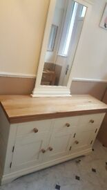 Large solid oak sideboard and mirror