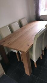 Solid oak table & 8 chairs