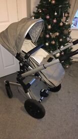 Joolz Day pram, carrycot and maxi cosy car seat with adapters