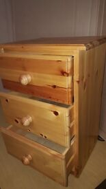 Solid Pine Bedside Chest