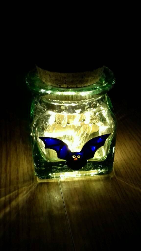 Helen Weathers Gl Bat Jar With Cork And Lights