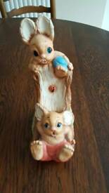 Pendelfin rabbits on a slide figurine