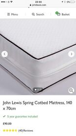 Brand new John Lewis Cot Bed Mattress