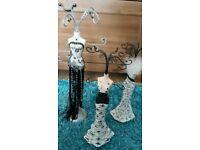 Brand new set of 3 decorative jewellery stands