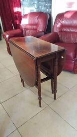 Dark Wood Folding Dining Table With Spindled Legs in Good Condition