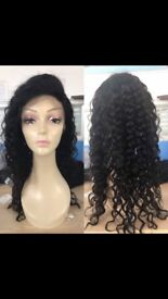 11A grade beautiful deep curls Brazilian lace front wig