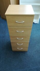NEW Narrow 5 Drawer Chest Oak, Black or White £29 Each