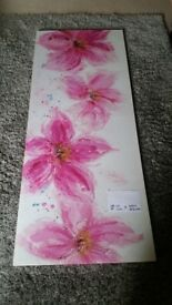 Flowery Pink Wall Canvas