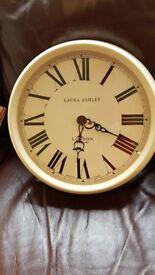 Large cream enamel Laura Ashley wall clock