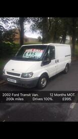 Ford Transit van 2.0 2002. 12 Months MOT